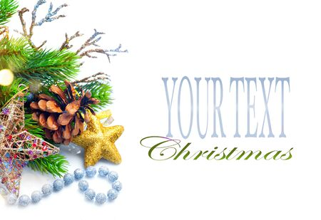 shiny gold: Christmas and New Year Decoration isolated on white background Stock Photo