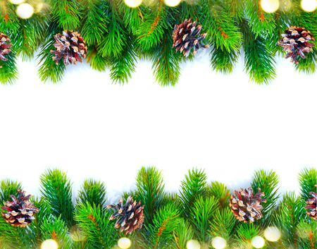 xmas background: Christmas tree with cones border isolated on a white background