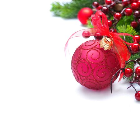 Christmas and New Year background. Red decorations and Christmas tree iisolated on white