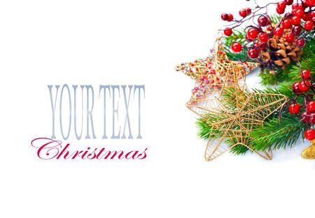 decoration: Christmas and New Year Decoration isolated on white background Stock Photo
