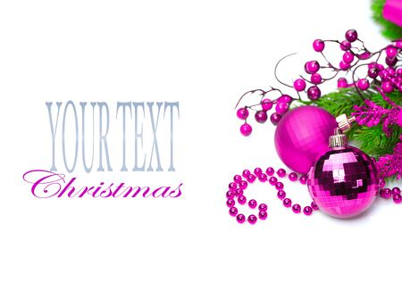 color of year: Christmas and New Year purple color decoration isolated on white background. Border art design