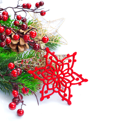 table: Christmas and New Year decoration isolated on white background
