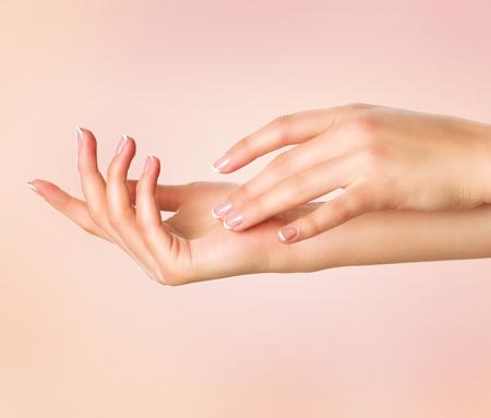 아름 다운 여자의 손. 스파 매니큐어 개념. 프랑스 매니큐어와 여성의 손 스톡 콘텐츠