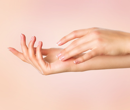 Beautiful woman hands. Spa and manicure concept. Female hands with french manicure Stok Fotoğraf - 66265493
