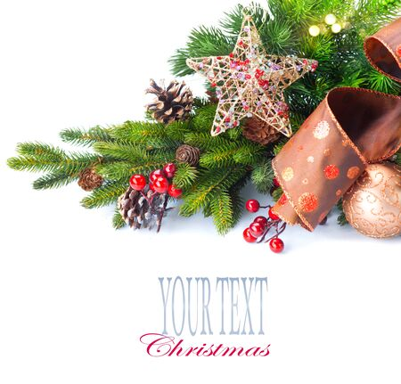 composition: Christmas and New Year Decoration isolated on white background Stock Photo