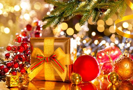 box tree: Holiday Christmas scene. Gift box under the decorated Christmas tree