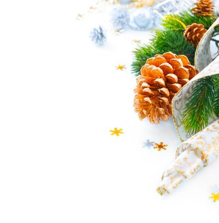 silver background: Christmas and New Year holiday decorations isolated on white background Stock Photo