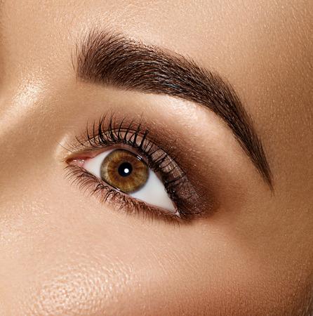 ojos marrones: Mujer de la belleza morena de ojos con maquillaje perfecto Foto de archivo