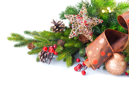 vintage background: Christmas and New Year Decoration isolated on white background Stock Photo