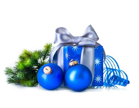 decoration: Christmas gift box and decorations isolated on white background