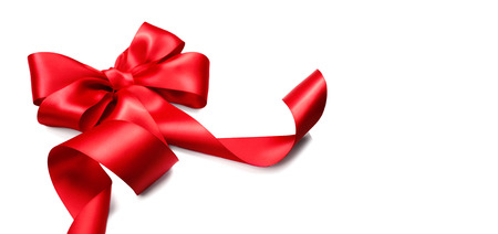 Red satin gift bow. Ribbon isolated on white background Stock Photo