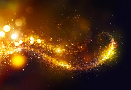 black: Golden Christmas glittering stars swirl over black background