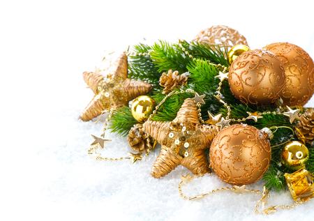 xmas background: Christmas and New Year Decoration over white background