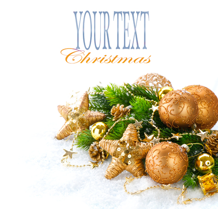 tinsel: Christmas and New Year Decoration over white snow background