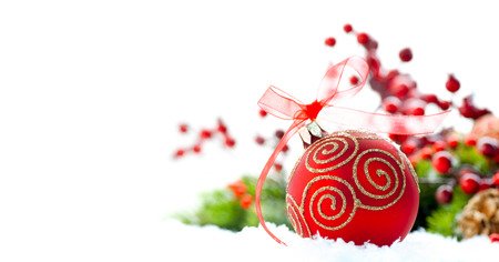 Red Christmas and New Year decoration over white background Imagens