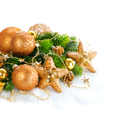 xmas background: Christmas and New Year Decoration over white snow background
