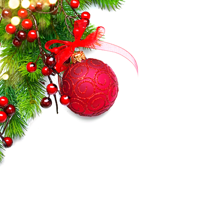 1: Christmas and New Year background. Red decorations and Christmas tree iisolated on white