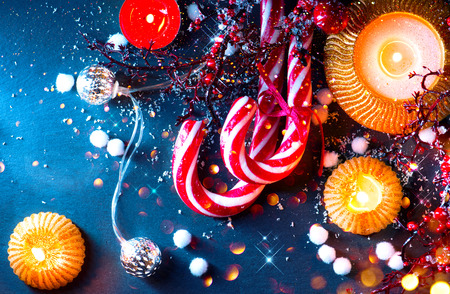 traditional: Christmas holiday background. Christmas served table with decorations