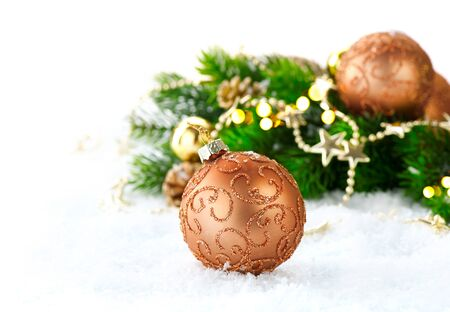 christmas decorations: Christmas and New Year Decoration over white snow background