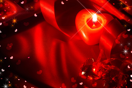shaped: Valentines Day background. Valentine Day frame design with red heart shaped candle, satin ribbon over red silk