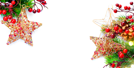 Christmas and New Year Decoration isolated on white background Stock Photo