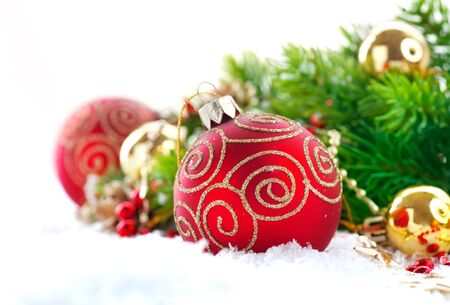 Red Christmas and New Year decorations over white background. Christmas tree