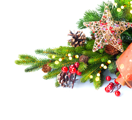 golden: Christmas and New Year Decoration isolated on white background Stock Photo