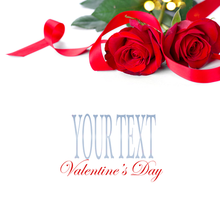 Valentines Day. Red roses isolated on white background Stock Photo