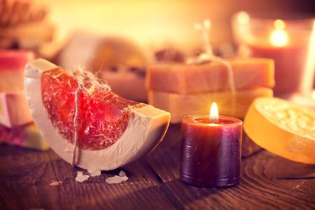 Spa. Handmade organic soap closeup. Various soap bars and candles Stock Photo