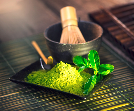 dry powder: Matcha powder. Organic green matcha tea ceremony