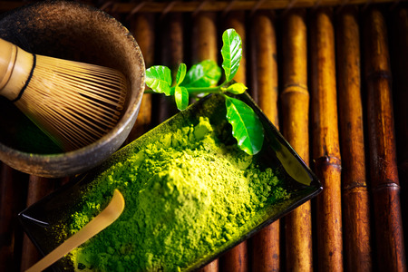 Matcha powder. Organic green matcha tea ceremony