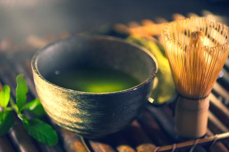 matcha en polvo. ceremonia del té matcha verde orgánico Foto de archivo