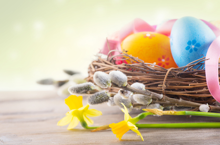 decoration: Easter background. Beautiful colorful eggs in the nest with spring flowers