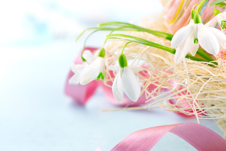 Easter background. Beautiful spring snowdrop flower with decorations on the wooden table Stock Photo