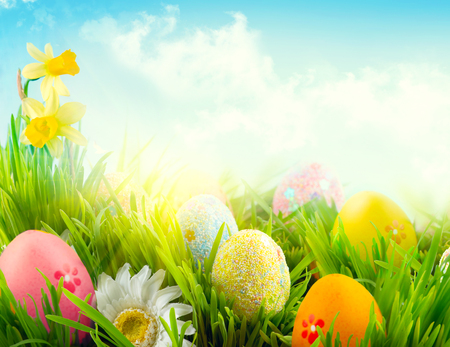 Easter nature spring scene background. Beautiful colorful eggs in spring grass meadow over blue sk