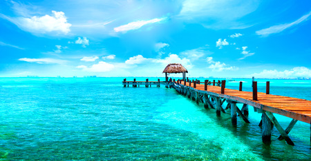 Exotic Caribbean paradise. Travel, tourism or vacations concept. Tropical beach resort 스톡 콘텐츠