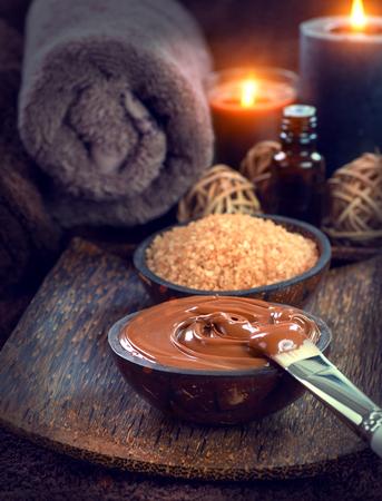 brown skin: Spa treatment. Chocolate mask, bath salt, brown sugar scrub for skin