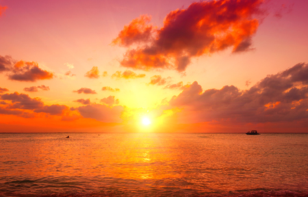 seafronts: Sunset beach. Paradise scene of Caribbean island
