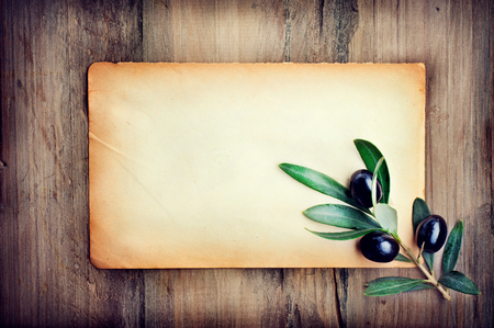 empty: Olive over paper background. Fresh and healthy organic olives border design