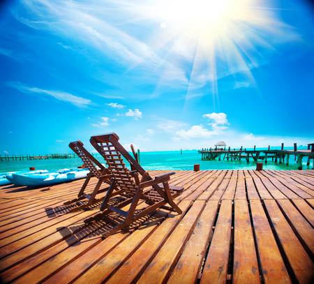 エキゾチックなカリブ海の楽園。旅行、観光や休暇の概念。熱帯のビーチ リゾート 写真素材 - 74044901