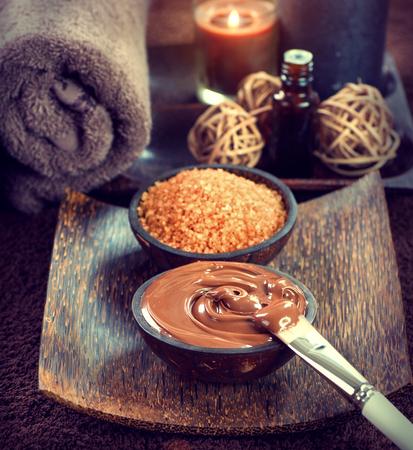 bath: Spa treatment. Chocolate mask, bath salt, brown sugar scrub for skin