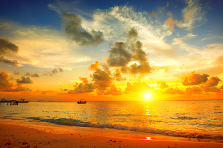 Sunset beach with beautiful sky landscape. Travel, vacation concept background