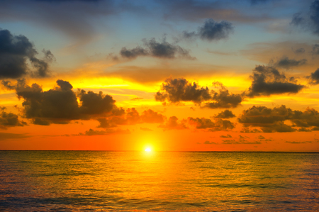 island: Sunset beach with beautiful sky landscape. Travel, vacation concept background