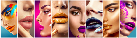 Makeup collage. Beauty makeup artist ideas. Colorful lips, eyes, eyeshadows and nail art
