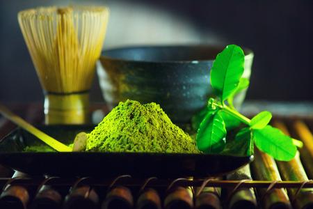 Matcha tea powder. Organic green matcha tea ceremony