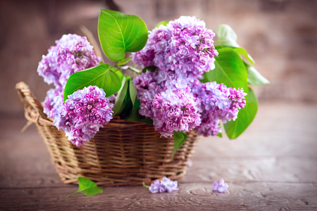Lilac flowers bunch in a basket over blurred wood background Imagens - 78264083