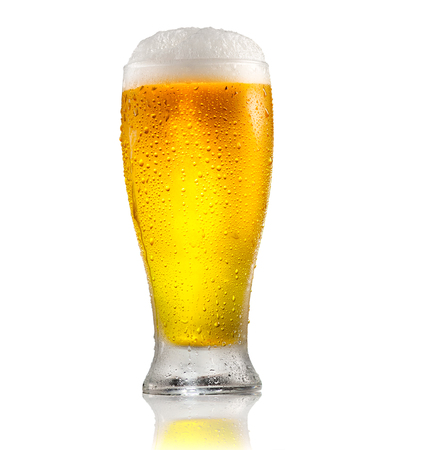 Beer. Glass of cold beer with water drops. Craft beer isolated on white background