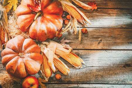 Thanksgiving day background. Orange pumpkins over wooden background Stockfoto