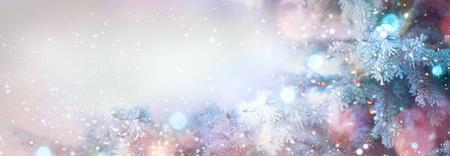 Winter tree holiday snow background. Beautiful Christmas border art design