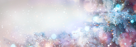 Winter tree holiday snow background. Beautiful Christmas border art design Stock Photo - 84778581